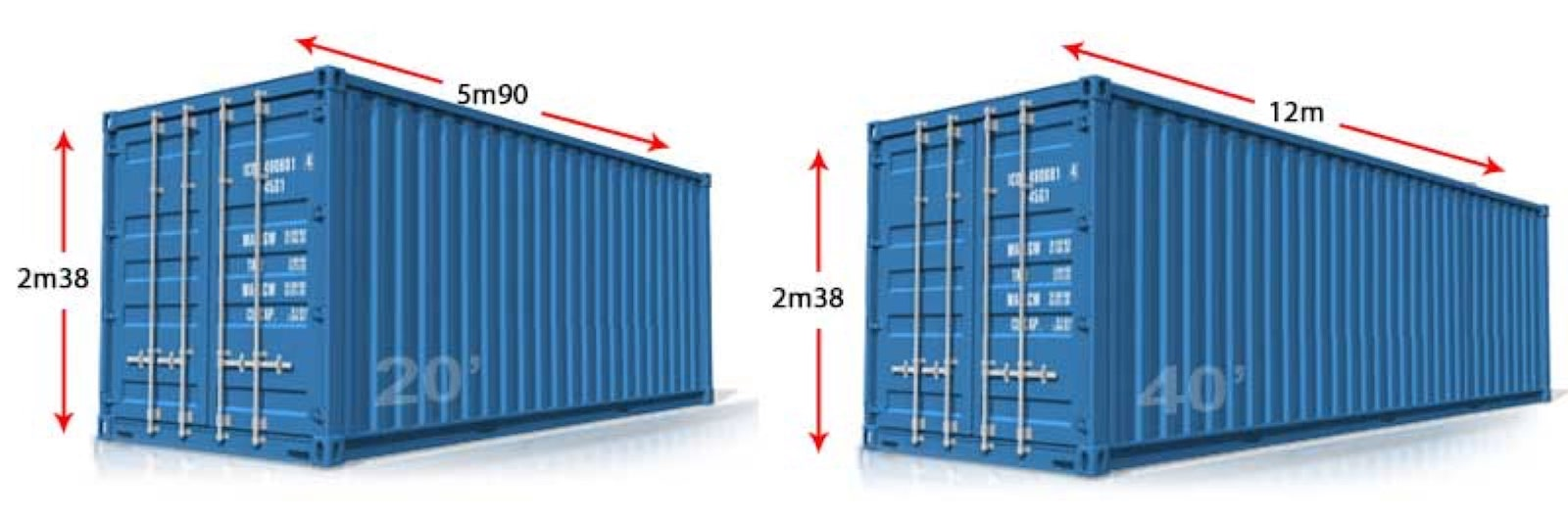 dimensions container 20 40 feet